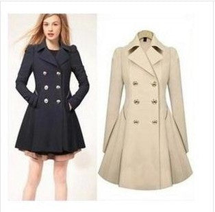 Double Button Turn-down collar Slim Plus Size Coat - Oh Yours Fashion - 1