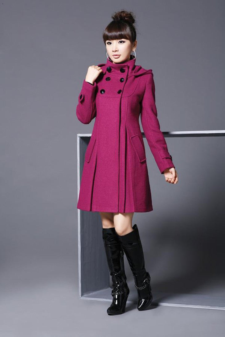 Hooded High Neck Button Slim Long Sleeves Mid-length Coat - Oh Yours Fashion - 7