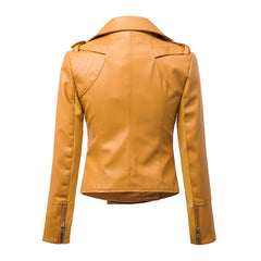 Fashion Turn Down Collar Slim PU Leather Jacket - O Yours Fashion - 2