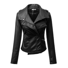 Fashion Turn Down Collar Slim PU Leather Jacket - O Yours Fashion - 3