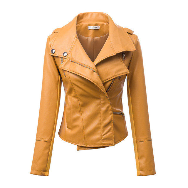 Fashion Turn Down Collar Slim PU Leather Jacket - O Yours Fashion - 1
