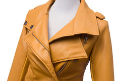Fashion Turn Down Collar Slim PU Leather Jacket - O Yours Fashion - 5