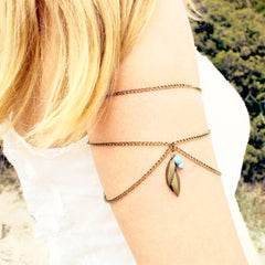 Leaf Tophus Tassel Pendant Armlet Chain - Oh Yours Fashion - 1