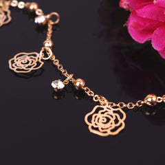 Butterfly Rose Crystal Tassel Anklet - Oh Yours Fashion - 4