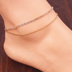 Crystal Double Layers Anklet - Oh Yours Fashion - 1