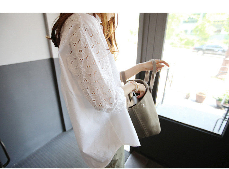 Turn-down Collar Lace Hollow Out Long Sleeves Casual Blouse - Oh Yours Fashion - 4