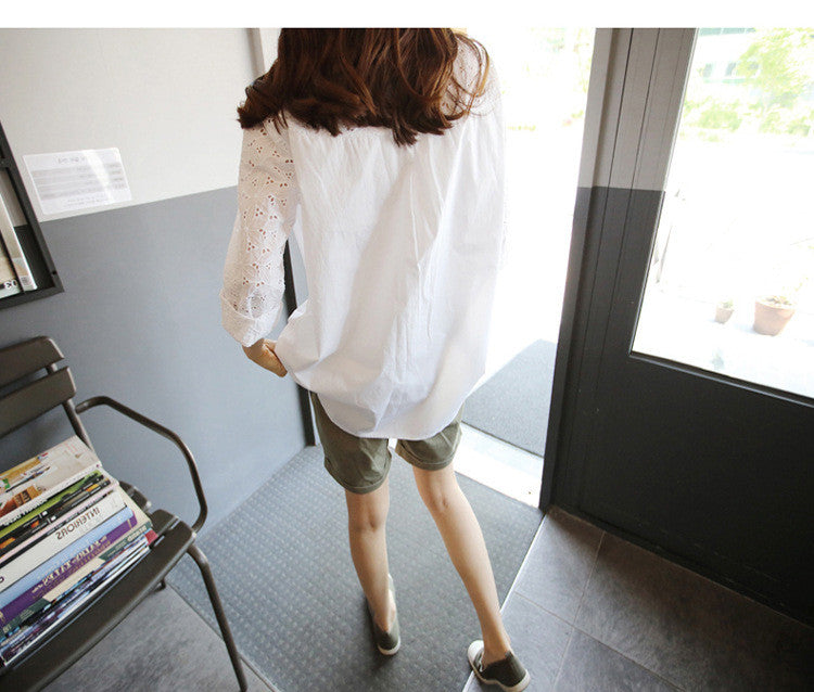 Turn-down Collar Lace Hollow Out Long Sleeves Casual Blouse - Oh Yours Fashion - 5