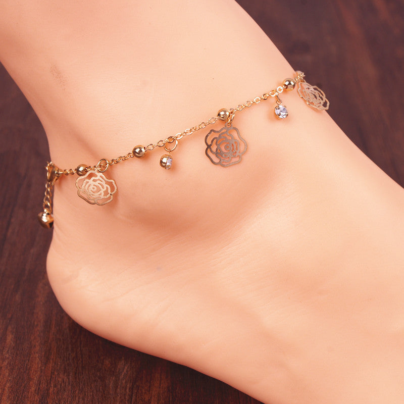 Butterfly Rose Crystal Tassel Anklet - Oh Yours Fashion - 1