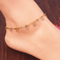 Butterfly Rose Crystal Tassel Anklet - Oh Yours Fashion - 3