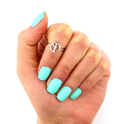 Simple LOVE Peace Symbol Open Foot Ring - Oh Yours Fashion - 1