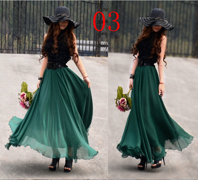 Bohemian Flared Pleated Pure Color Slim Floor Maxi Skirt - Oh Yours Fashion - 12