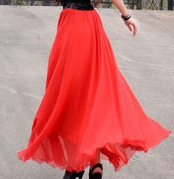 Bohemian Flared Pleated Pure Color Slim Floor Maxi Skirt - Oh Yours Fashion - 4