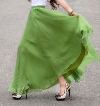 Bohemian Flared Pleated Pure Color Slim Floor Maxi Skirt - Oh Yours Fashion - 9