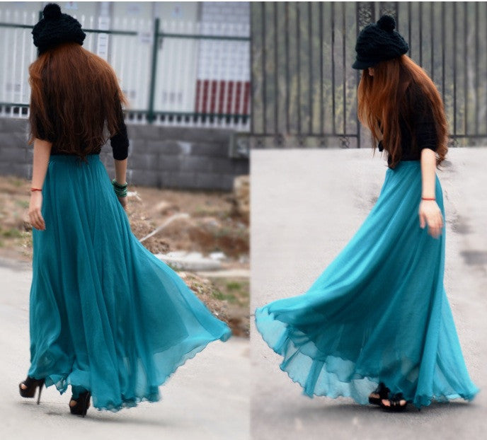 Bohemian Flared Pleated Pure Color Slim Floor Maxi Skirt - Oh Yours Fashion - 8