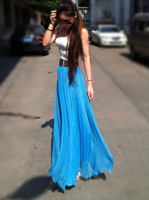 Bohemian Flared Pleated Pure Color Slim Floor Maxi Skirt - Oh Yours Fashion - 10