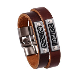 Simple Alloy BESTFRIEND Leather Bracelet - Oh Yours Fashion - 1