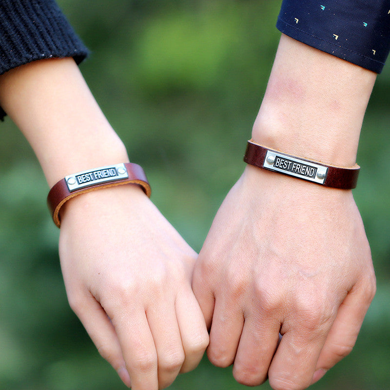 Simple Alloy BESTFRIEND Leather Bracelet - Oh Yours Fashion - 2