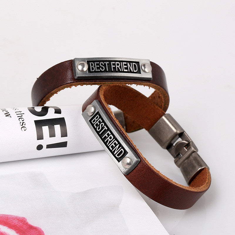 Simple Alloy BESTFRIEND Leather Bracelet - Oh Yours Fashion - 3