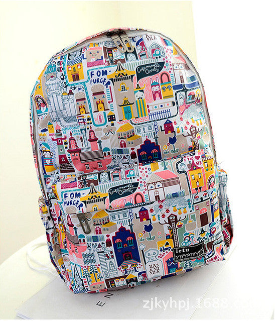 Graffiti Style Fashion Canvas School Backpack Bag - Oh Yours Fashion - 5