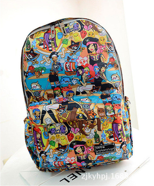Graffiti Style Fashion Canvas School Backpack Bag - Oh Yours Fashion - 4