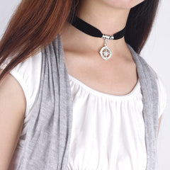 Black Lint Flannelette Style Pendant Necklace - Oh Yours Fashion - 2