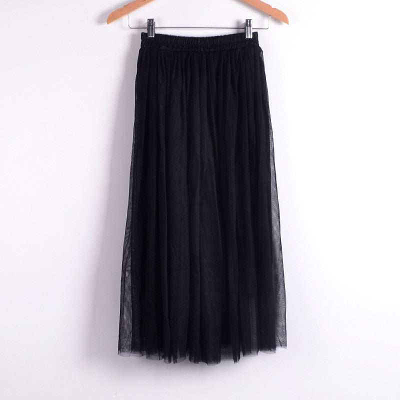 Double Layers Mesh Pleated Long Fluffy Beach Skirt - Oh Yours Fashion - 5