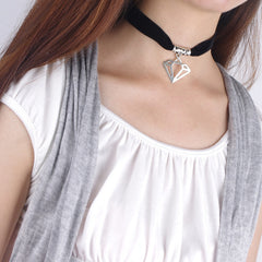 Black Lint Flannelette Style Pendant Necklace - Oh Yours Fashion - 4