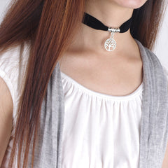 Black Lint Flannelette Style Pendant Necklace - Oh Yours Fashion - 1