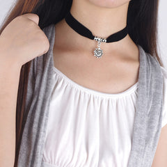 Black Lint Flannelette Style Pendant Necklace - Oh Yours Fashion - 9