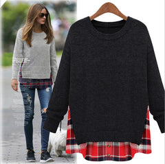 Plus Size Loose Scoop Long Sleeve False Two-piece T-Shirt - Oh Yours Fashion - 4