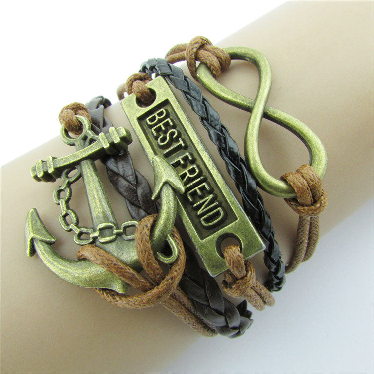 Retro BESTFRIEND Multilayer Woven Bracelet - Oh Yours Fashion - 1