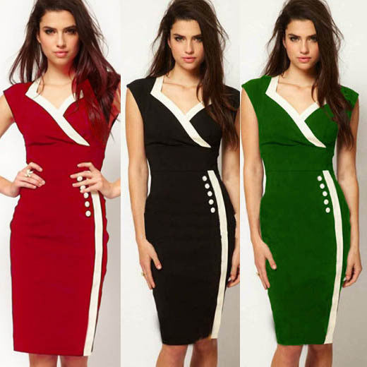 Fashion V-neck High Waist Sheath Patchwork Office Dress - Oh Yours Fashion - 1