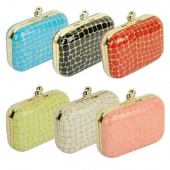 Women 6 Colors Stone Grain Chain Clutch Bag Handbag Messenger Bag Clutch CaF8 - Oh Yours Fashion - 1