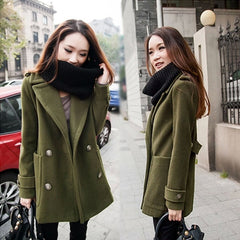 Button Thick Long Sleeves Turn-down Collar Short Coat - Oh Yours Fashion - 1