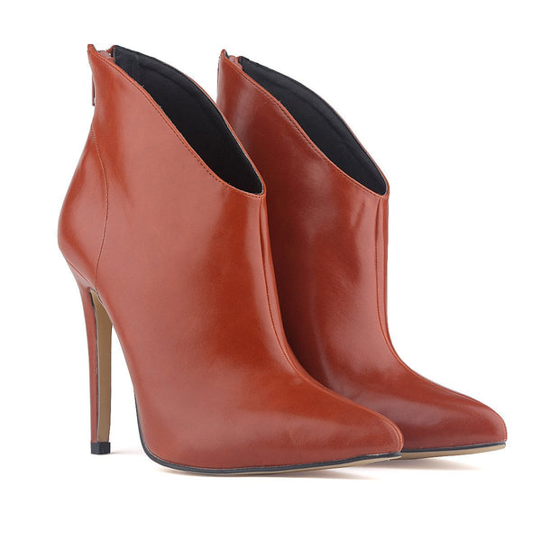 British Autumn Winter Simulation Leather Tines Naked Ankle Boots