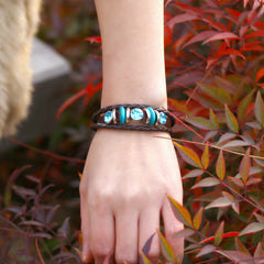 Personality Manually Crystal Woven Leather Bracelet - Oh Yours Fashion - 3