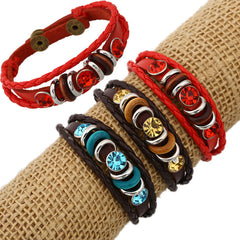 Personality Manually Crystal Woven Leather Bracelet - Oh Yours Fashion - 1