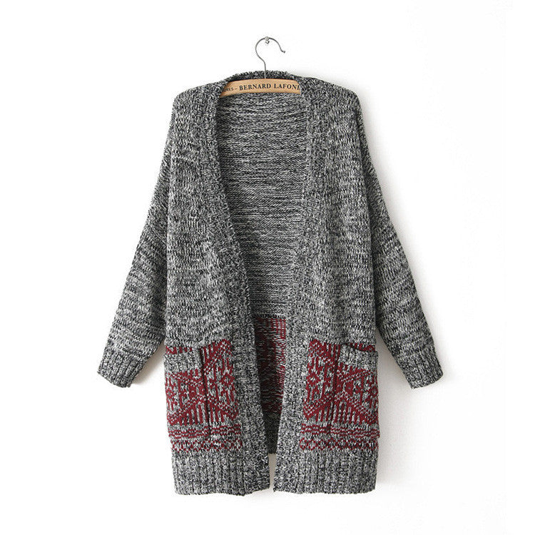 Cardigan Knit V-neck Long Loose 3/4 Sleeves Sweater - Oh Yours Fashion - 1