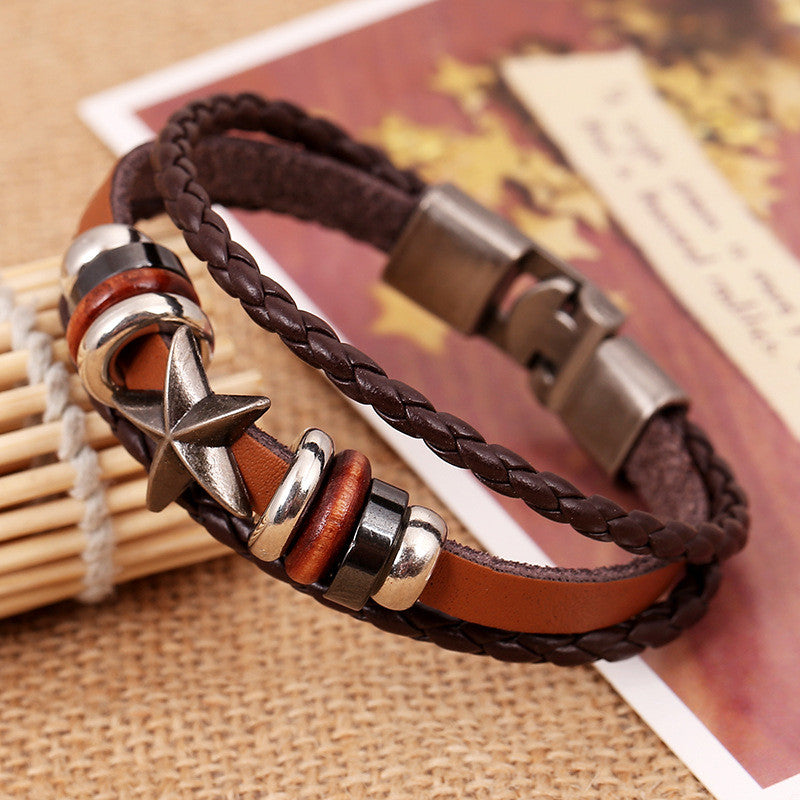 Retro Star Beaded Leather Woven Bracelet - Oh Yours Fashion - 4