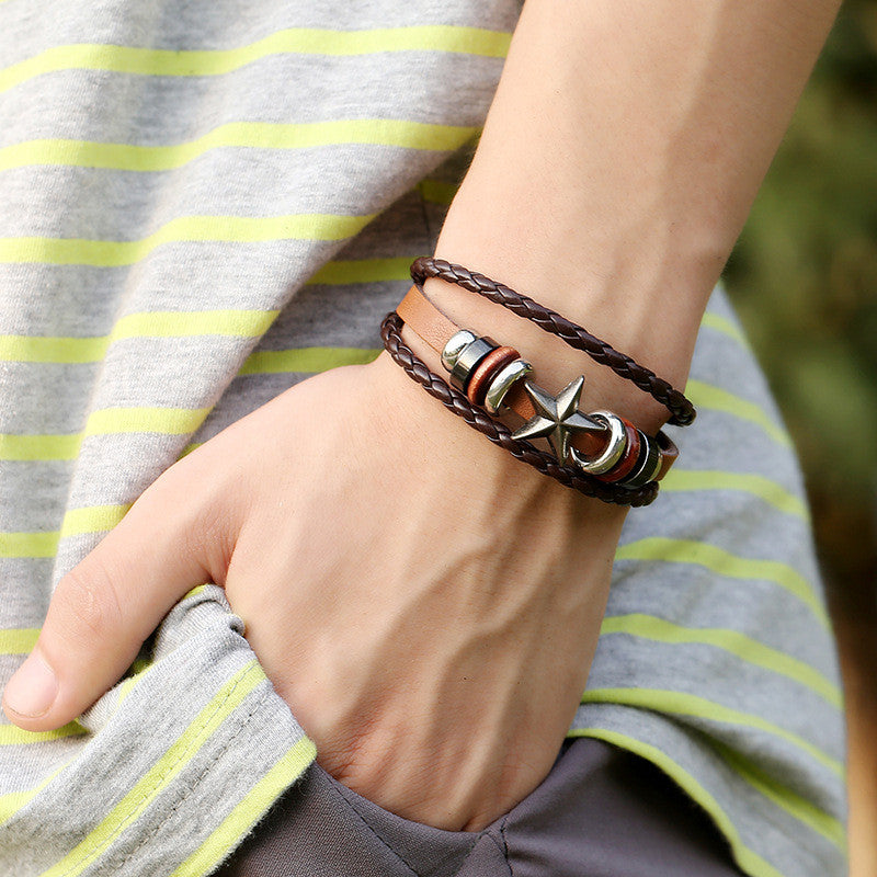 Retro Star Beaded Leather Woven Bracelet - Oh Yours Fashion - 2