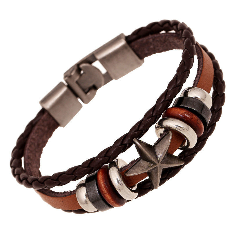 Retro Star Beaded Leather Woven Bracelet - Oh Yours Fashion - 1