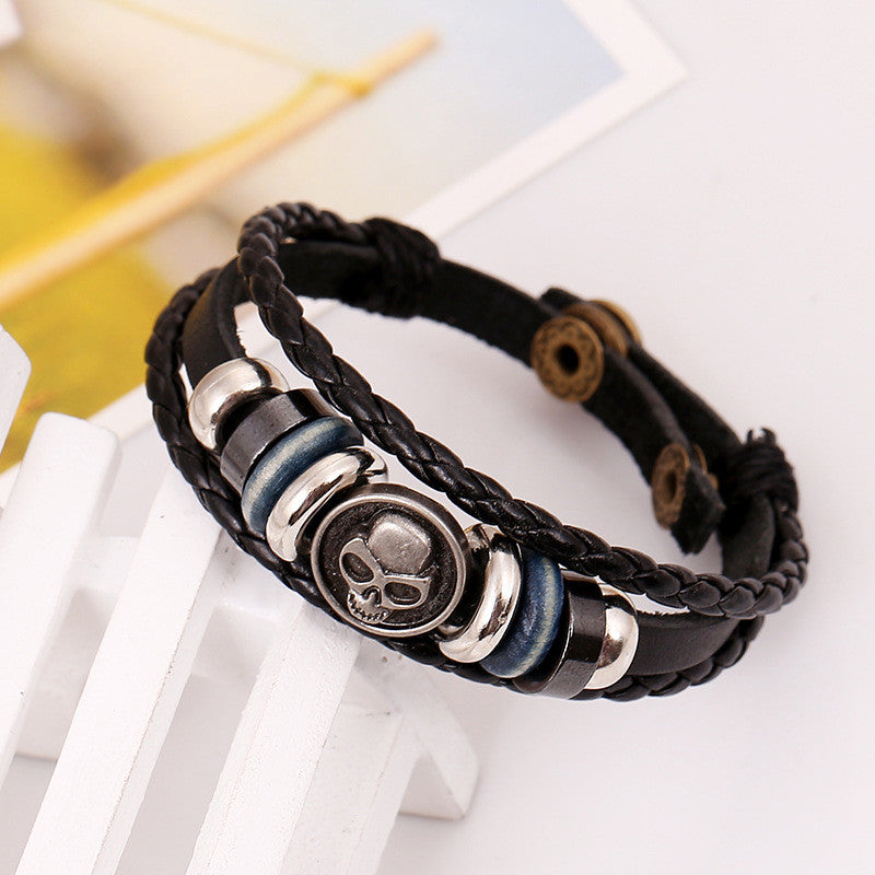 Retro Skull Beaded Woven Leather Bracelet - Oh Yours Fashion - 2