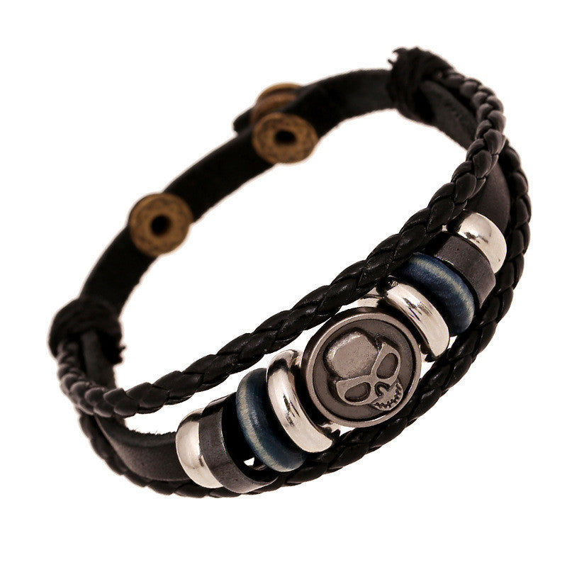 Retro Skull Beaded Woven Leather Bracelet - Oh Yours Fashion - 1