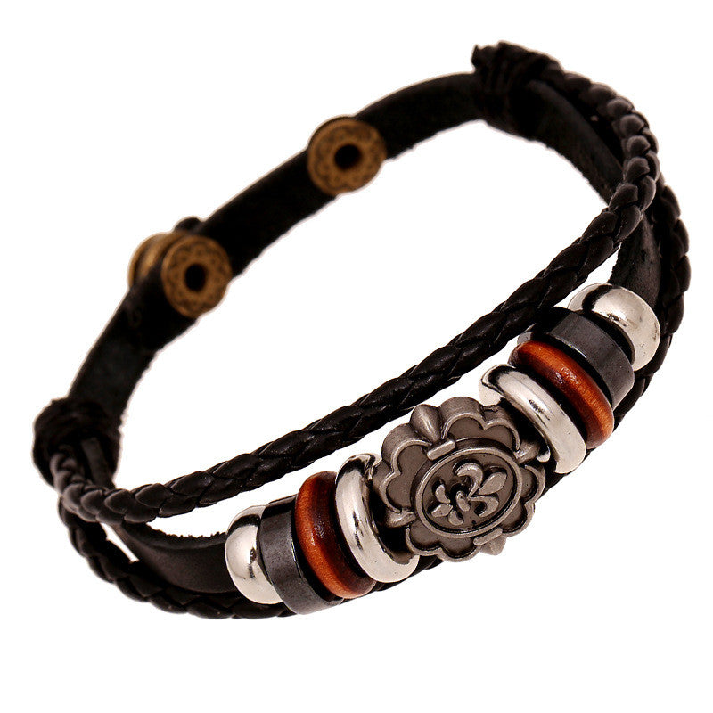 Carving Flower Multilayer Woven Leather Bracelet - Oh Yours Fashion - 1