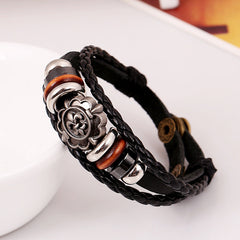 Carving Flower Multilayer Woven Leather Bracelet - Oh Yours Fashion - 2