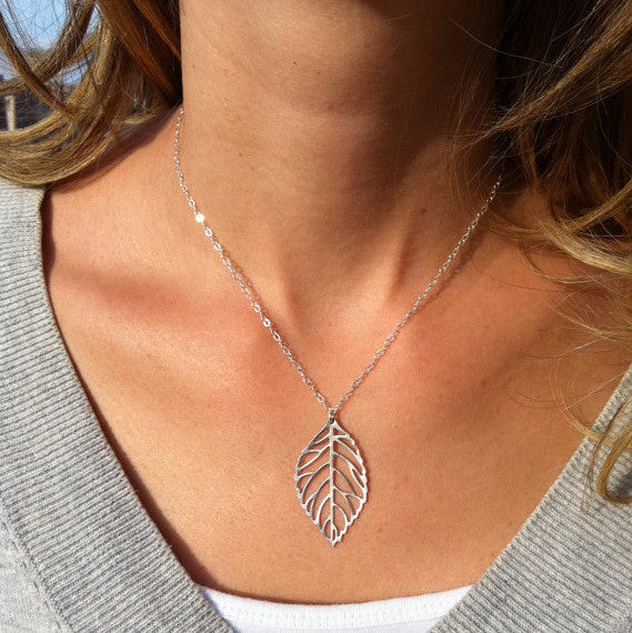 Simple Metal Leaves Short Necklace - Oh Yours Fashion - 1