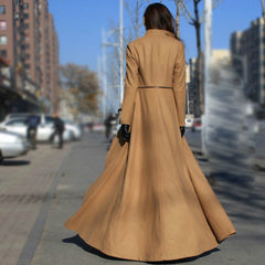 Beautiful High Neck Slim Super Long Coat - Oh Yours Fashion - 3