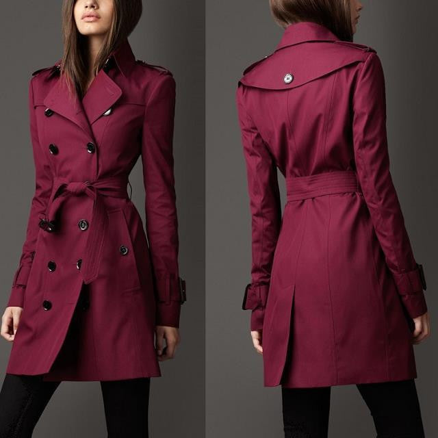 Turn-down Collar Belt Double Button Slim Mid-length Coat - Oh Yours Fashion - 4
