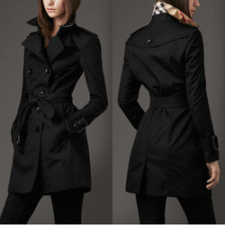 Turn-down Collar Belt Double Button Slim Mid-length Coat - Oh Yours Fashion - 1