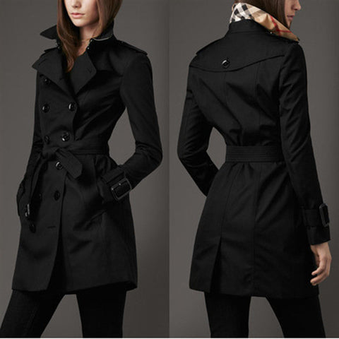 Turn-down Collar Belt Double Button Slim Mid-length Coat